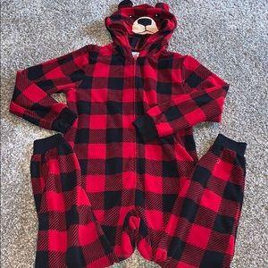 Komar Kids Boys Bear Red Buffalo Plaid Hooded One-Piece Pajamas